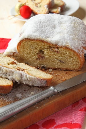 Traditional German homemade stollen with dried fruits photo
