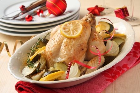Roasted whole chicken with vegetables and christmas decoration Stock Photo - 17006325