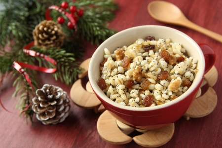Pot with kutia - traditional Christmas sweet meal in Ukraine, Belarus and Poland
