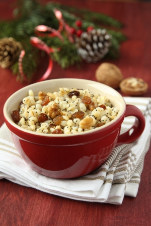 Pot with kutia -  traditional Christmas sweet meal in Ukraine, Belarus and Poland Stock Photo