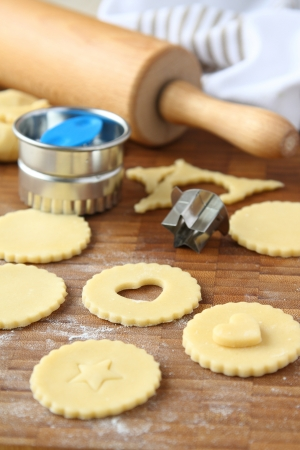 Homemade shortbread cookies pops with chocolate, process of baking, step 1