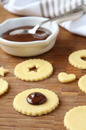 Homemade shortbread cookies pops with chocolate, process of baking, step 2 Stock Photo