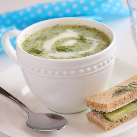 Cold cucumber soup with dill, yogurt  and cucumber sandwich photo