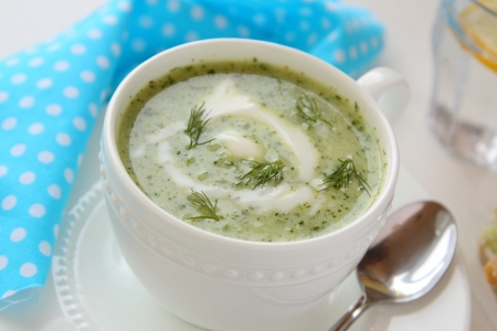 Cold cucumber soup with dill and yogurt photo