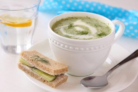 Cold cucumber soup with dill, yogurt  and cucumber sandwich
