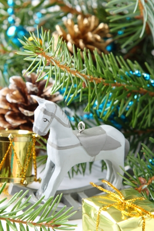 Christmas composition with wooden toy rocking horse Stock Photo - 22969160