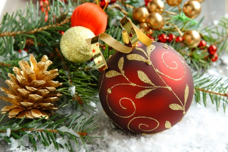 Christmas composition with christmas ball and decoration photo