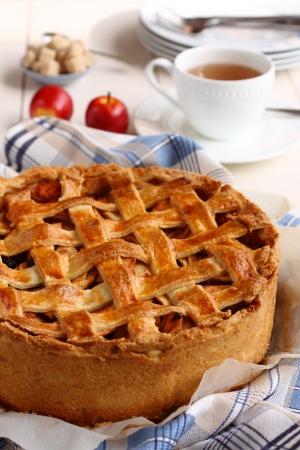 Appeltaart, elaboración casera y tarta de manzana holandés Foto de archivo - 22969311