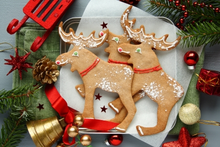 Homemade christmas cookies with christmas decoration. Elk shapes. photo