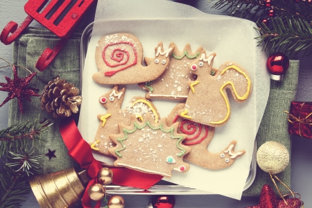 Homemade gingerbread animal-shaped cookies with icing, retro style Stock Photo - 23339602