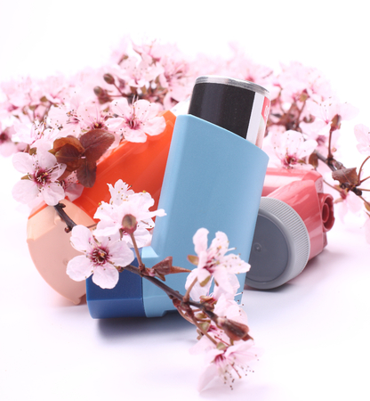Asthma inhalers with blossoming tree branches over white photo