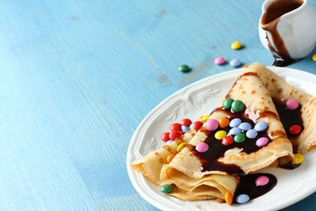 dragee: Homemade crepes with multicolored dragee