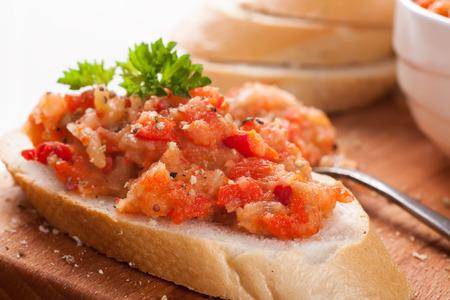 sandwiche: Open sandwiche with eggplant salad Stock Photo