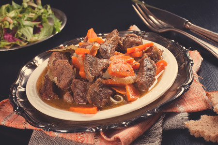 beef stew: Delicious bourguignon beef stew on white plate Stock Photo