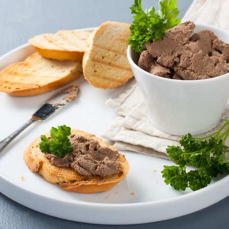 pate: Healthy chicken liver pate with parsley Stock Photo