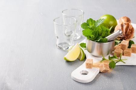 Ingredients for making mojitos photo