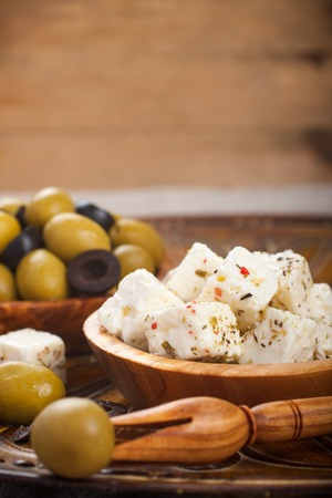 cubed: Cubed feta cheese with olives