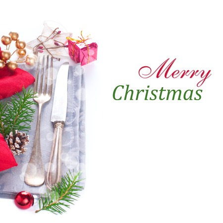 Christmas table place setting with christmas decorations. Christmas menu concept with copy space for text.