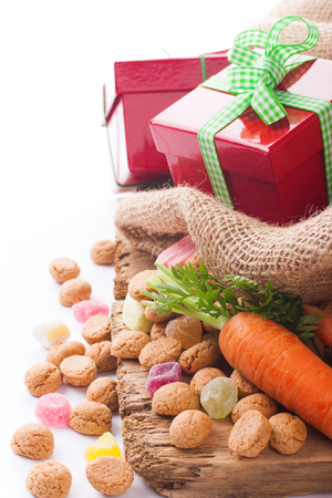 '5 december': Typical Dutch celebration: Sinterklaas with surprises in bag and ginger nuts, ready for the kids in december.  Holiday background with copy space for text.