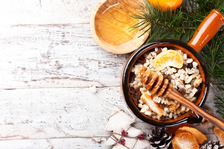 holiday food: Kutia. Traditional Christmas sweet meal in Ukraine, Belarus and Poland. Holiday food background with copy space.
