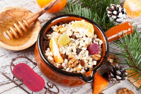orthodoxy: Kutia. Traditional Christmas sweet meal in Ukraine, Belarus and Poland. Holiday food background with Christmas decoration.
