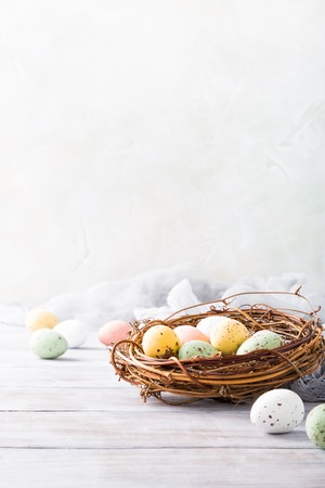 Easter composition of colorful quail eggs in the nest on the light wooden background. Holiday concept with copy space. Stock Photo