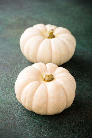 Autumn pumpkin thanksgiving background with two white pumpkins over green table. Copy space.