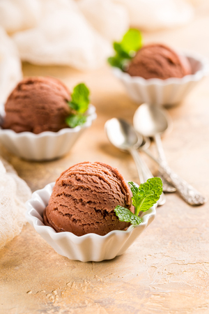 Chocolate ice cream scoop in white bowl with mint leaves on sand color stone background. Summer food concept with copy space.