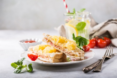 Hot fresh hawaii toast sandwich with ham, pineapple, tomato and cheese. Healthy summer food concept with free space for text. Banque d'images