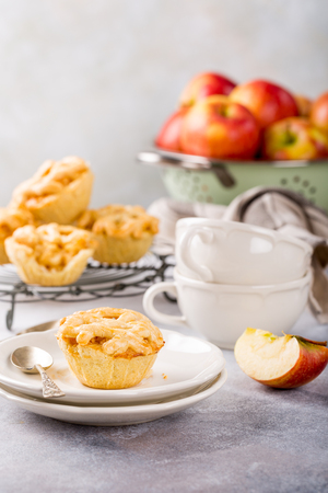 Homemade mini apple pies on white plates decorated on light concrete background. Healthy food concept with copy space. Stock Photo