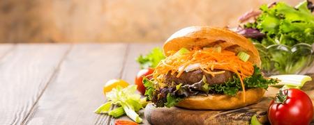 Delicious bagel burger Banque d'images
