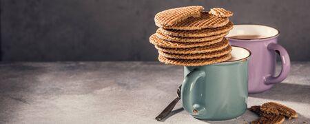Traditional dutch cookies syrupwaffles