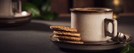 Coffee in brown cup Фото со стока