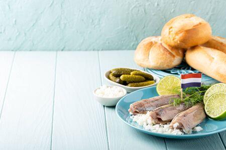 Traditional dutch food herring fish Banco de Imagens - 133034184
