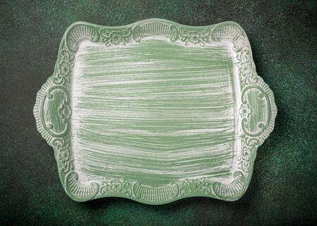 Vintage green wooden tray Foto de archivo - 134473196