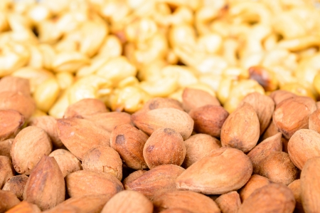watchfulness: Smoked and sugarsalted almonds and cashew nuts Stock Photo