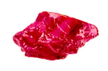 materia prima: Bright rojo rosado áspero y sin cortar cristal de rubí Foto de archivo