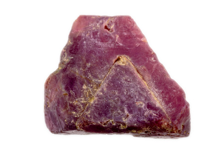 spinel: A dark red, slightly violet rough and uncut natural Spinel crystal  Triangular crystal shape