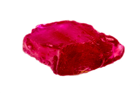gemological: Bright pinkish red rough and uncut ruby crystal