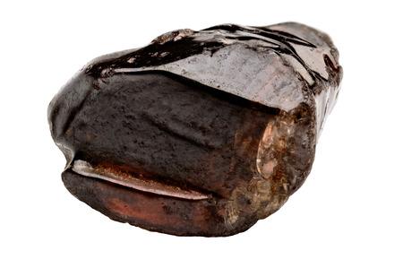 gemology: Un singolo cristallo di Zircon marrone su fondo bianco