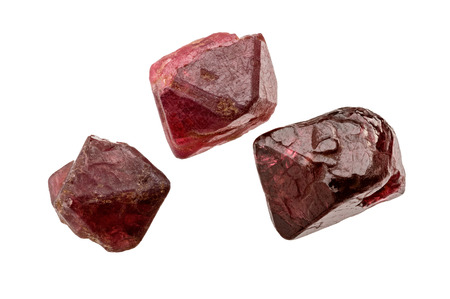 spinel: Three rich red Spinel crystals on white