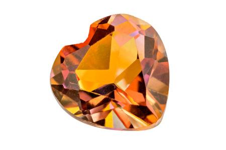 gemological: One lovely orange treated Topaz heart on white Stock Photo