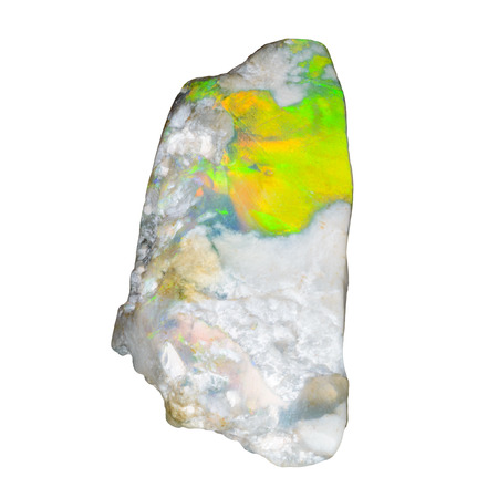 gemological: One green raw uncut opal on white Stock Photo