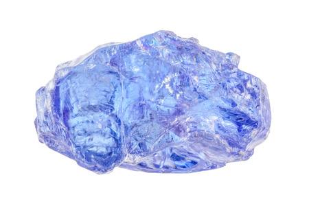 One raw uncut brightly blue Tanzanite crystal