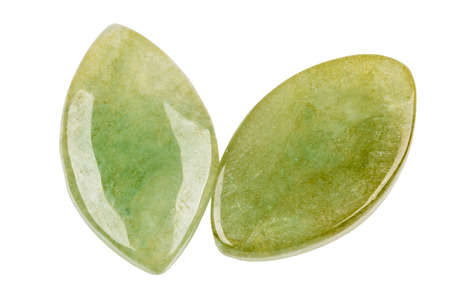 gemological: A peir of green jade leafs on white
