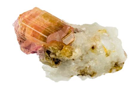 Lovely pink orange tourmaline crystal on host rock Standard-Bild