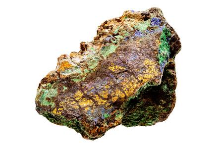 gemological: A multicolored bornite mineral sample isolated on white. Some green Brochantite also present