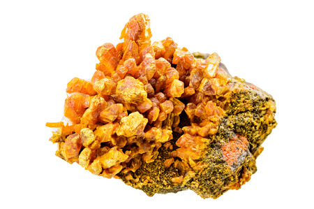 sulfide: A rich yellow orpiment mineral sample isolated on white Stock Photo