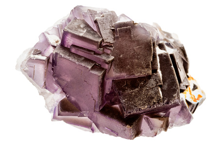 gemological: One purple fluorite crystal with nice structure on white