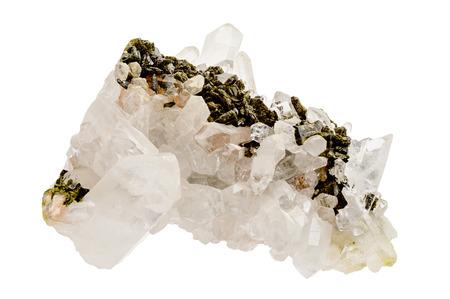 gemological: Several quartz crystals over host rock matrix. Isolated on white.